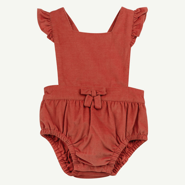 Baby cord bubble romper with ruffled sleeves