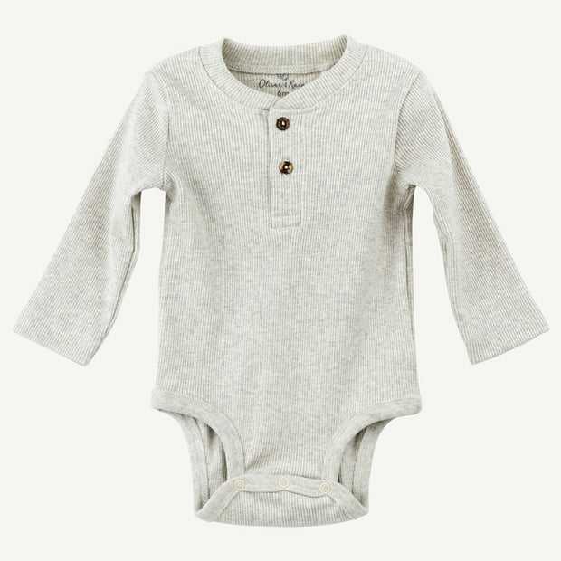 Organic Henley Bodysuit, Long sleeve Oatmeal