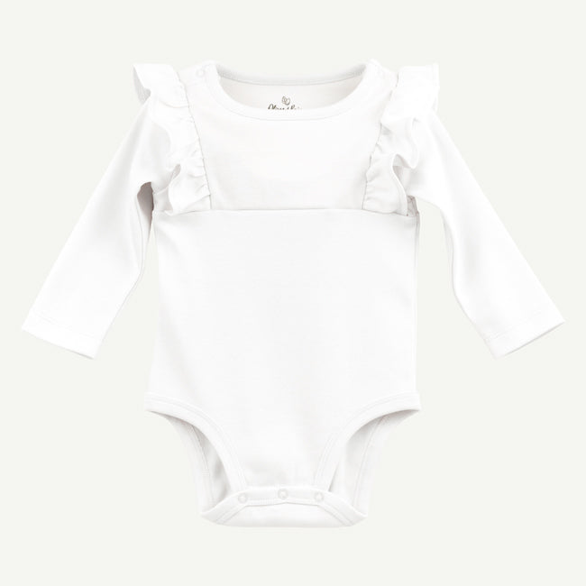 Ruffled long sleeve pima cotton bodysuit, white
