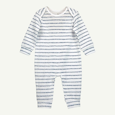 Organic Long-Sleeve Unionsuit | Dash Stripe