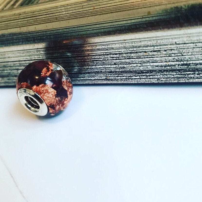 Dried flowers & copper keepsake bead
