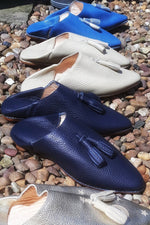 "Come sail away with our ocean-inspired ""Seasoul"" collection of handmade Moroccan leather babouches"