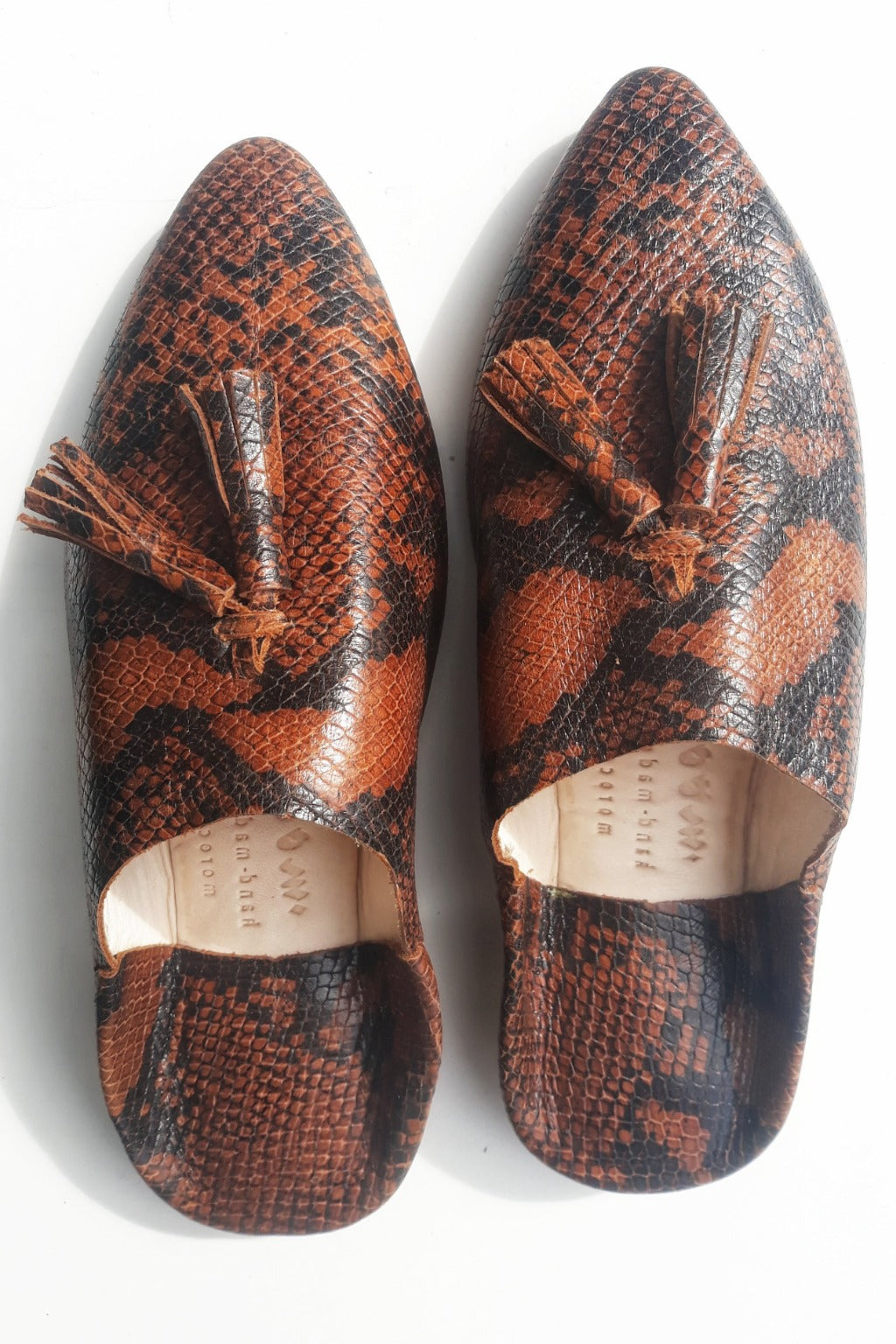 Marrakech Tan Snakeskin Babouches