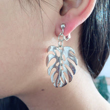 Load image into Gallery viewer, CLIP ON EARRINGS - Silver leaf earrings