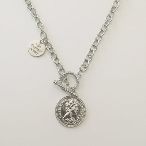 Silver coin chain necklace with toggle and lobster clasps (Free gift box)