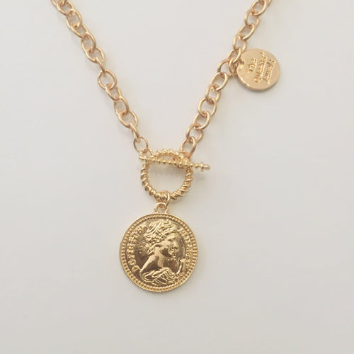 Gold coin chain necklace with toggle and lobster clasps (Free gift box)