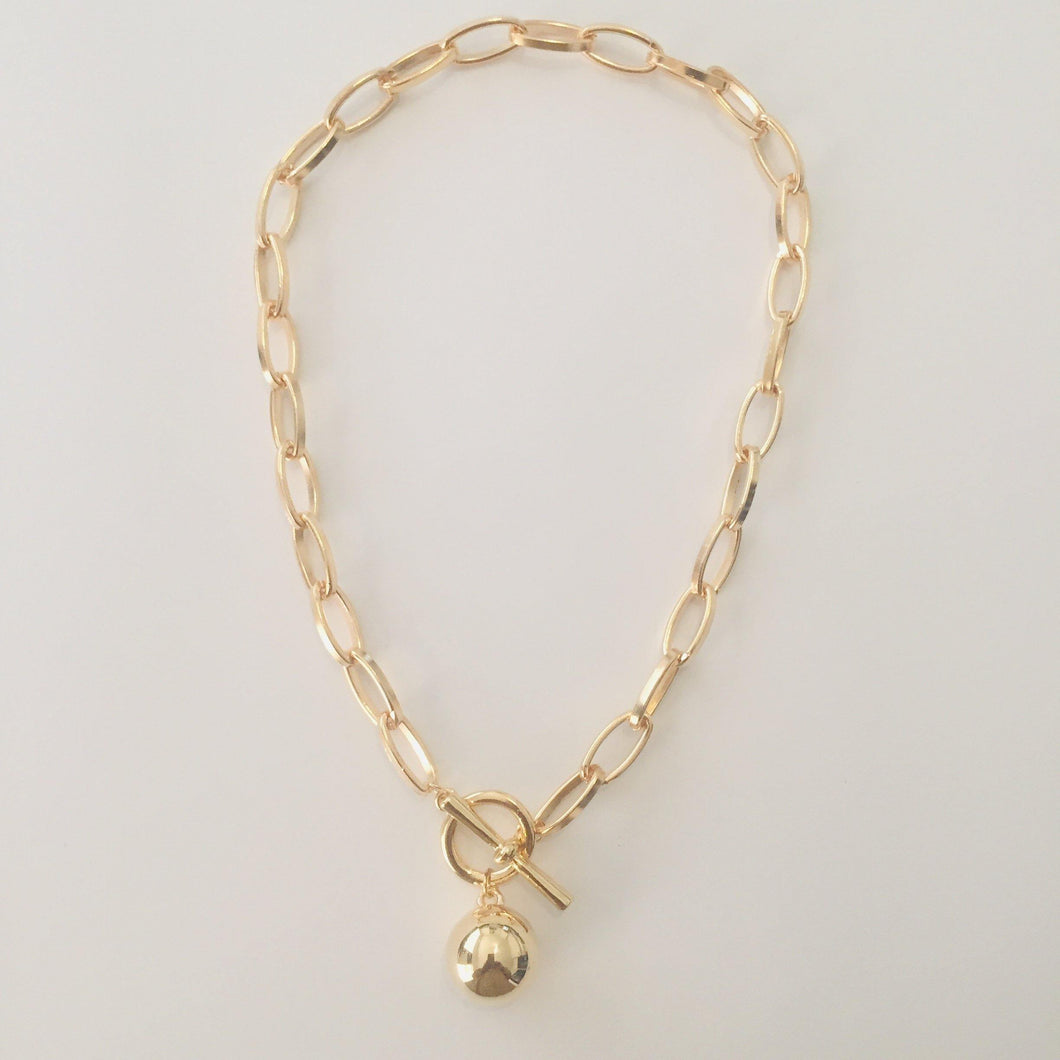 Gold oval link chain necklace with ball pendant (free gift box)