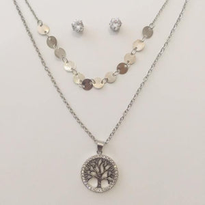 Silver tree of life double chain set with stud earrings(free gift bag)