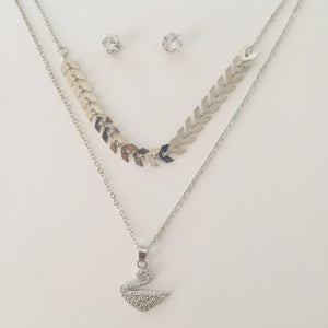 Silver bird pendant chain set with stud earrings(free gift bag)