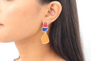Red, royal blue and mustard earrings - Zees Fashion