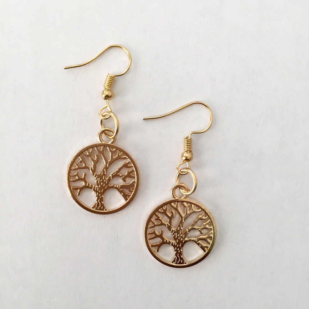 Gold Tree of Life earrings - Zees Fashion