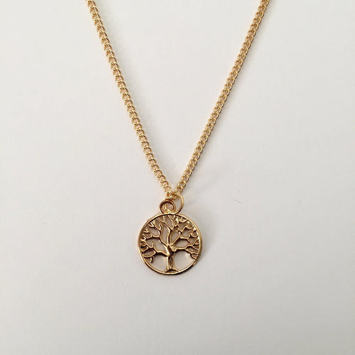 Gold Tree of Life chain necklace (free gift box) - Zees Fashion