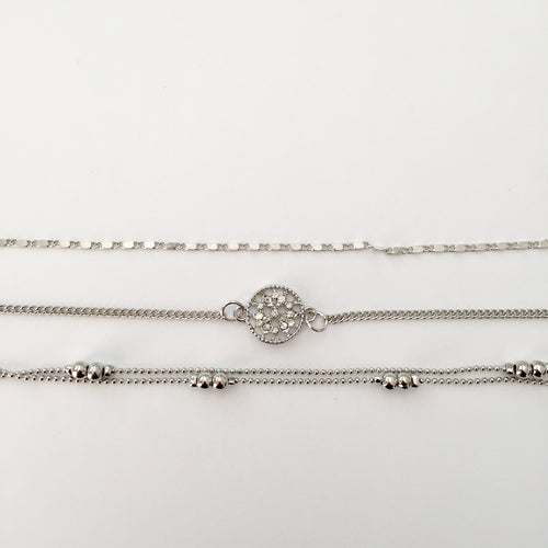 Silver Julie anklet set (3) (Free gift bag!) - Zees Fashion