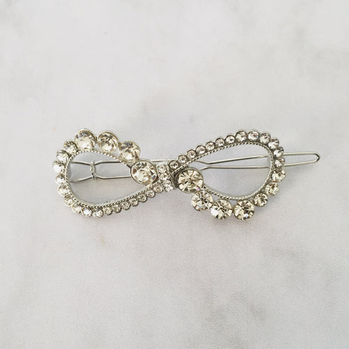 Silver bow hair clip - Zees Fashion