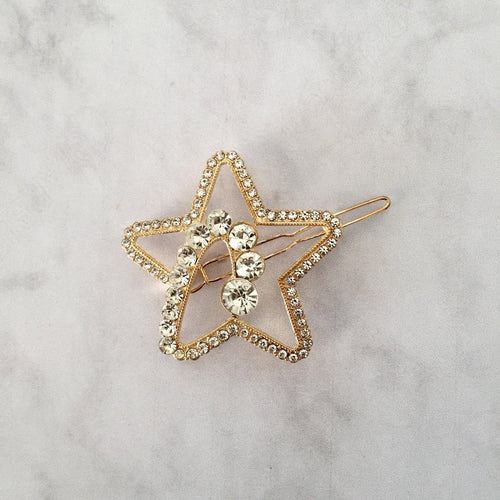 Gold diamante star hair clip - Zees Fashion