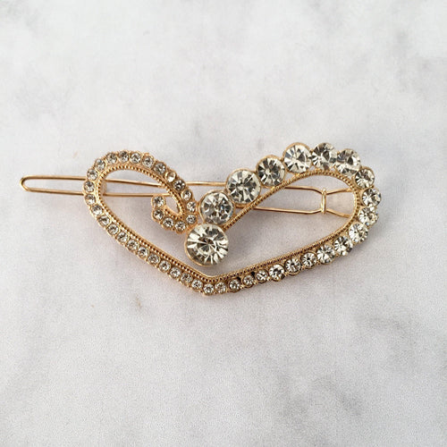 Gold diamante heart hair clip - Zees Fashion