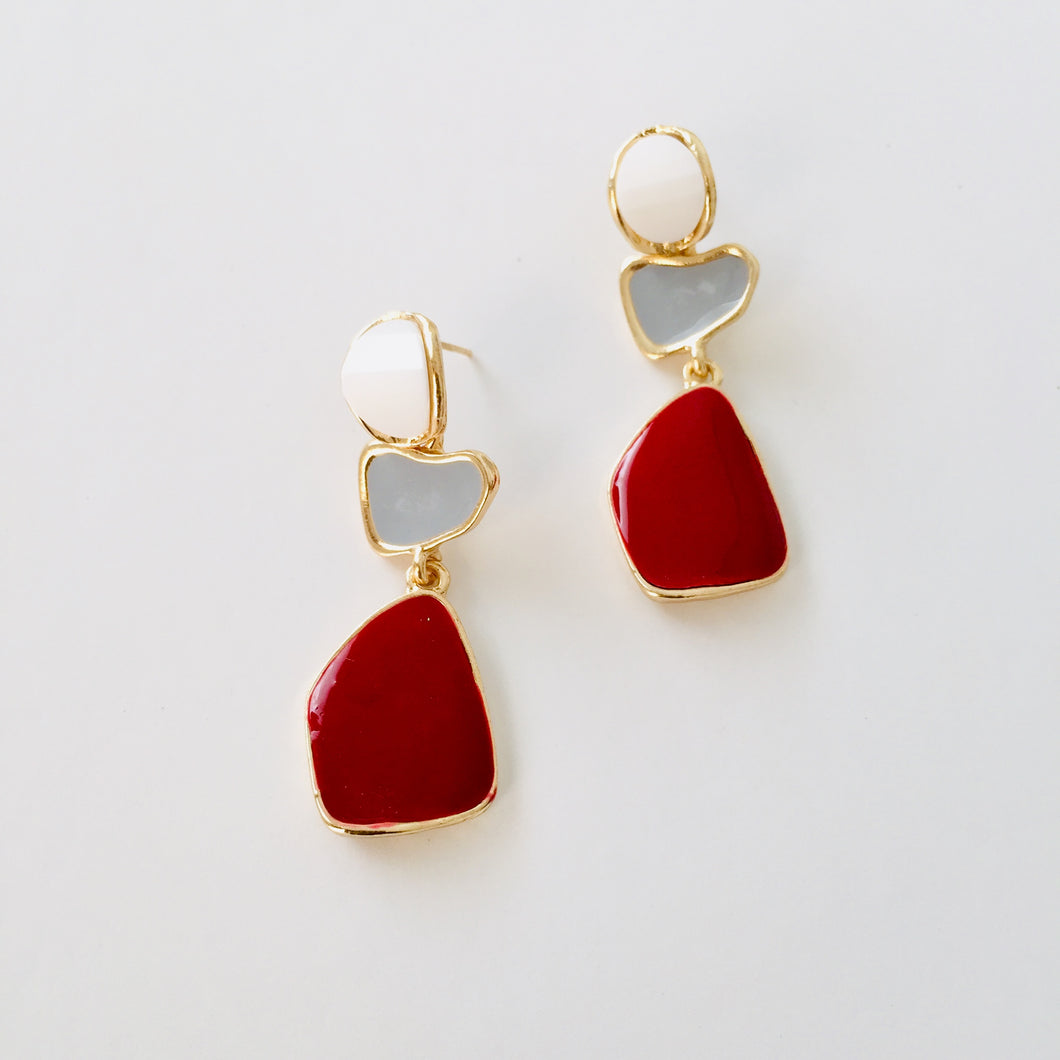White, grey and dark red earrings - Zees Fashion