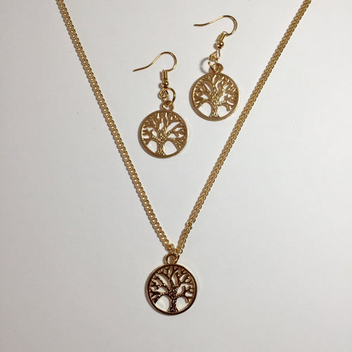 Gold tree of life necklace and earrings set (free gift box) - Zees Fashion
