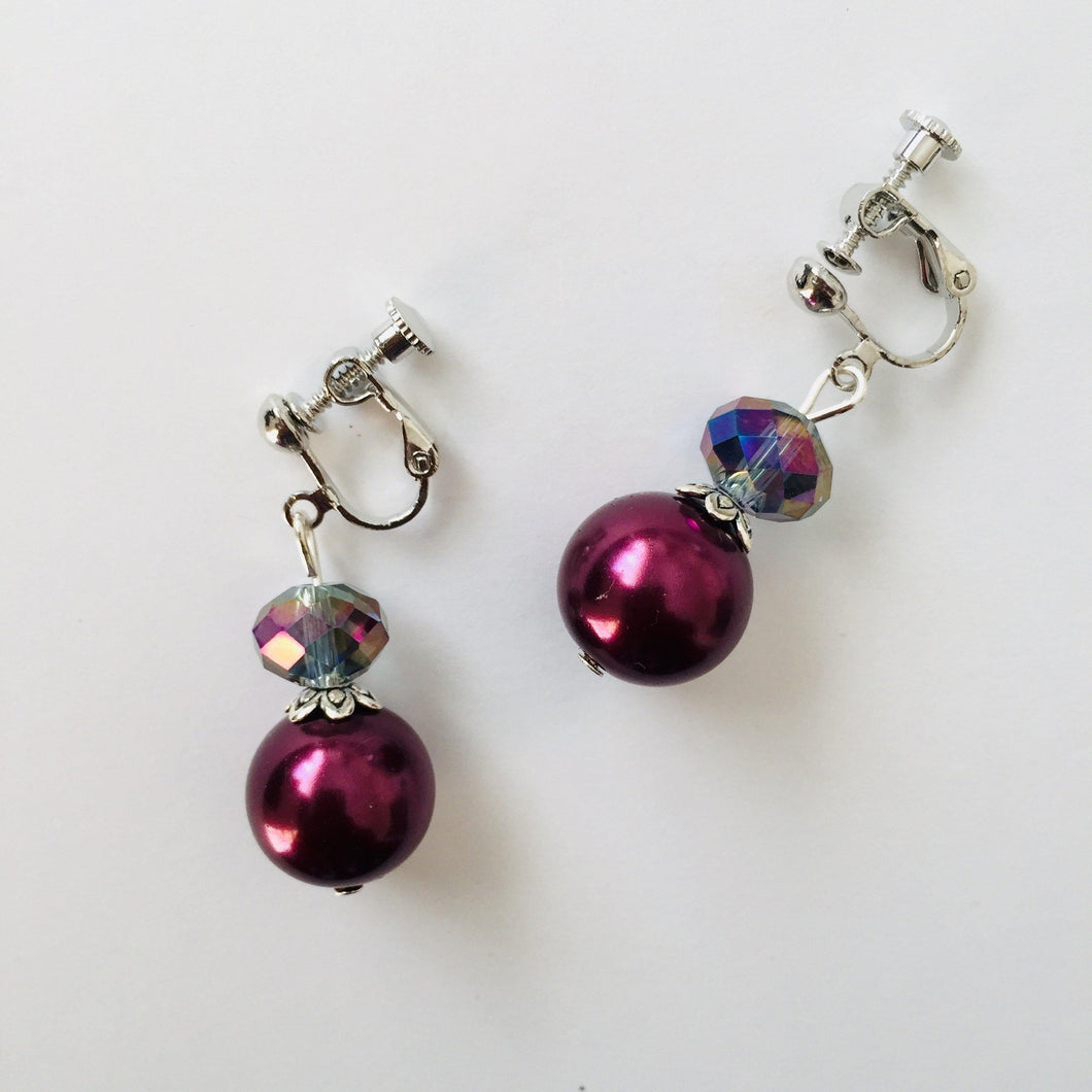 CLIP ON EARRINGS - Mauve Lusha earrings - Zees Fashion