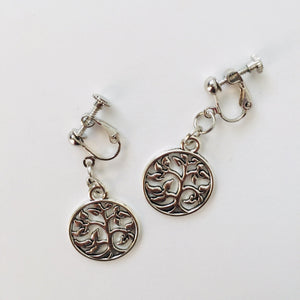 CLIP ON EARRINGS - Silver Tree of Life earrings - Zees Fashion