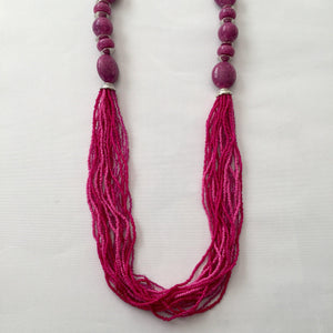 Magenta long necklace - Zees Fashion