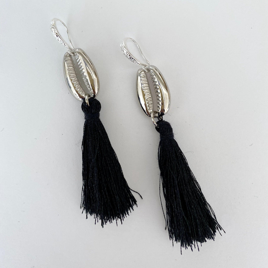 Black tassels with silver cowrie earrings