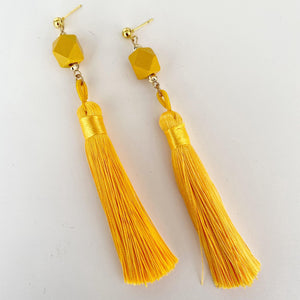 Canary yellow tassel earrings