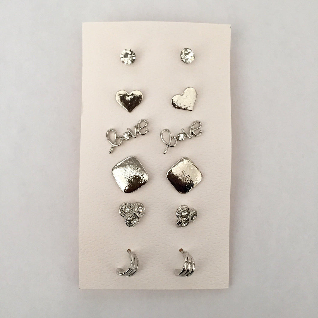 Mina silver stud earring pack (6 pairs)