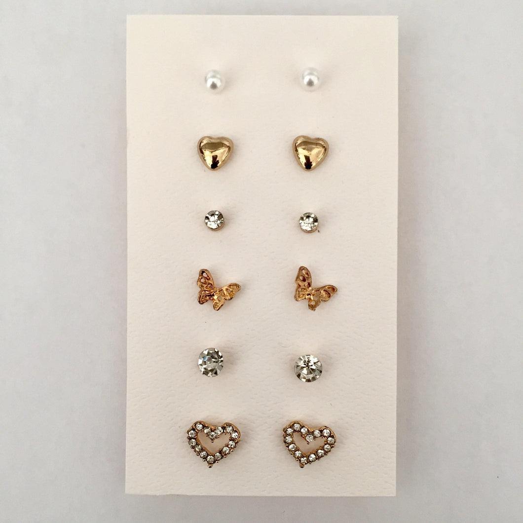 Gold stud earring pack (6 pairs in set)