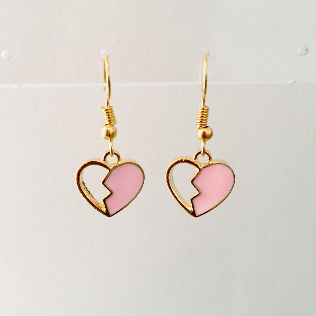 Pink and gold heart girls earrings