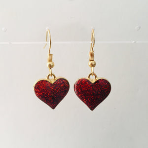 Red and gold heart girls earrings