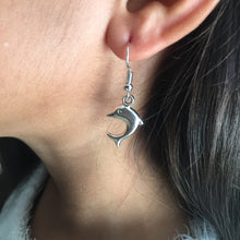 Load image into Gallery viewer, Silver dolphin girls earrings