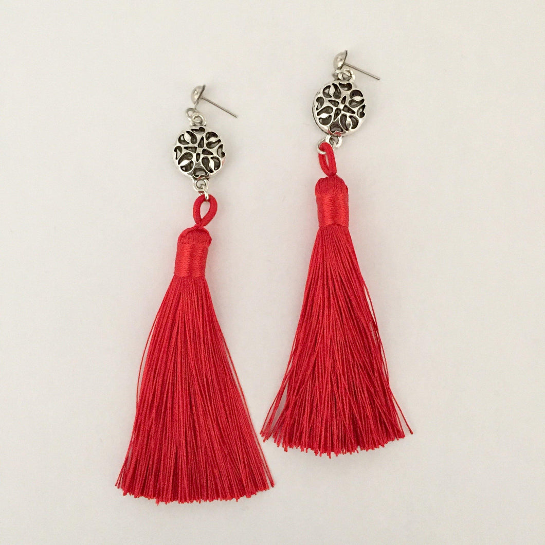 Red and silver tassel earrings