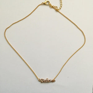 Gold Believe pendant chain (Free gift box)