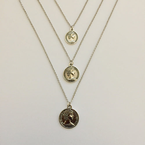 Triple silver chain necklace with coin pendants (free gift box)