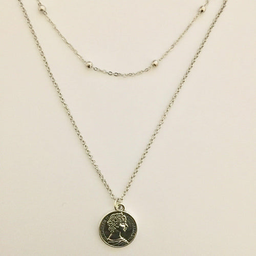 Double silver chain necklace with coin pendant (free gift box)