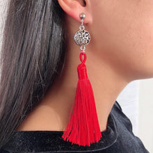 Load image into Gallery viewer, Red and silver tassel earrings
