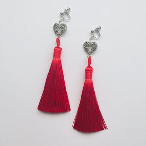 Red tassel clip on earrings