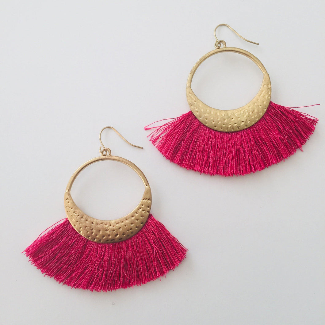 Fuschia pink tassel earrings