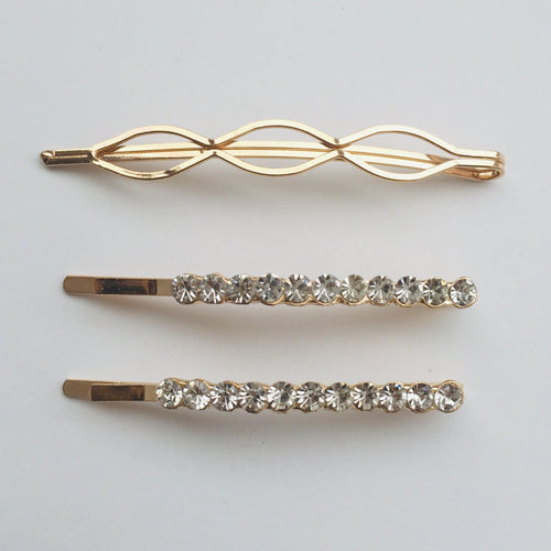Gold rhinestone hair clip set (3 items)