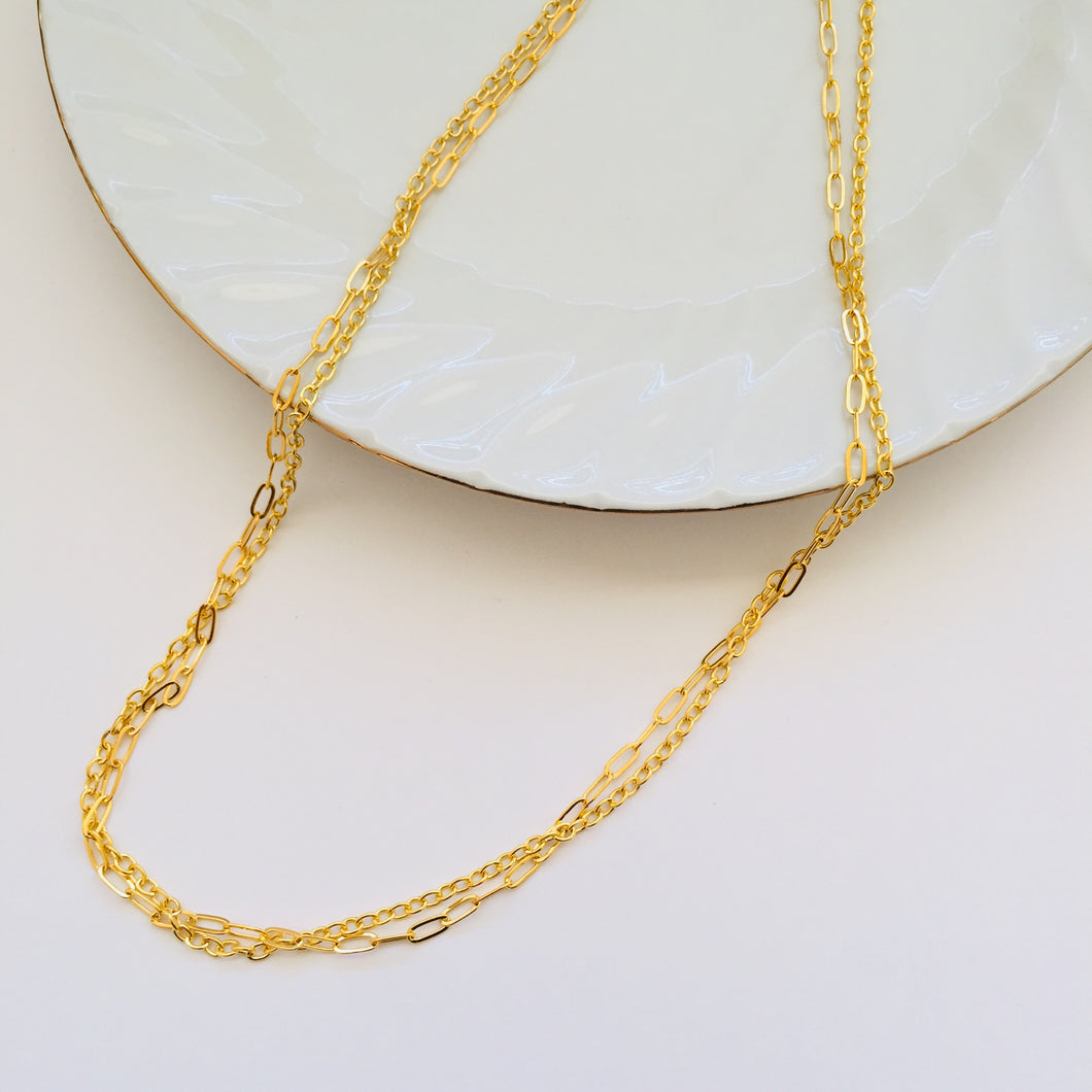 Sorcha double gold necklace (free gift box)