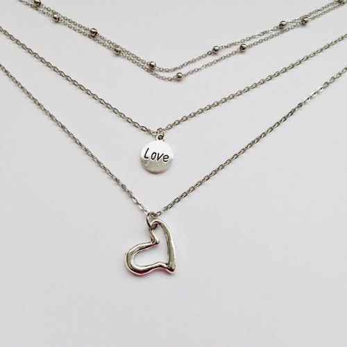 Love silver chain necklace (free gift box)