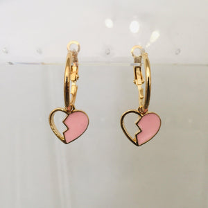 Pink heart sleeper earrings