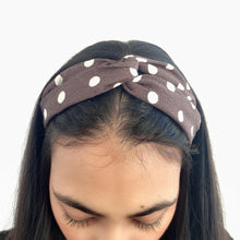 Load image into Gallery viewer, Dark grey and white polka dot headband (not an Alice Band)