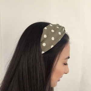 Olive green and white polka dot headband (not an Alice Band)