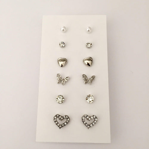 Lina silver stud pack (6 pairs)