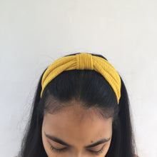 Load image into Gallery viewer, Yellow top knot headband (not an Alice Band)
