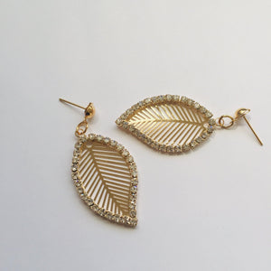 Gold leaf diamante earrings