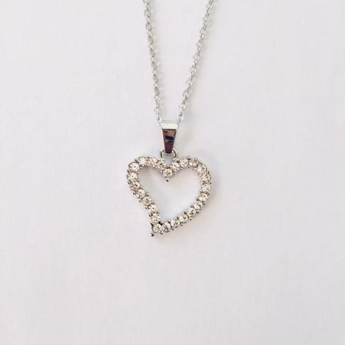 Silver diamante heart chain necklace (free gift box)