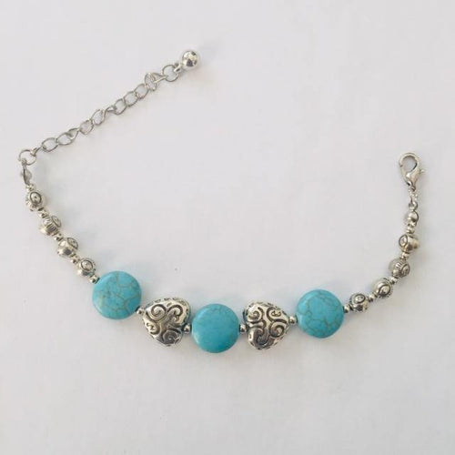 Silver heart and turquoise stone bracelet (free gift bag)